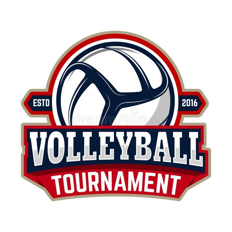 Volleybollturnering Emblemmall med volleybollbollen des vektor illustrationer