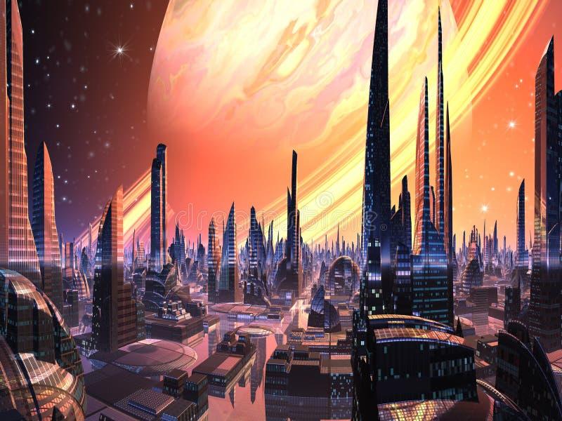 Vollkommene ausländische Stadt mit Ring-Planeten vektor abbildung