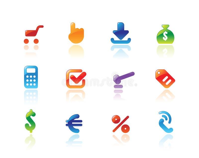 Vollkommene Ikonen für Onlinehandel stock abbildung