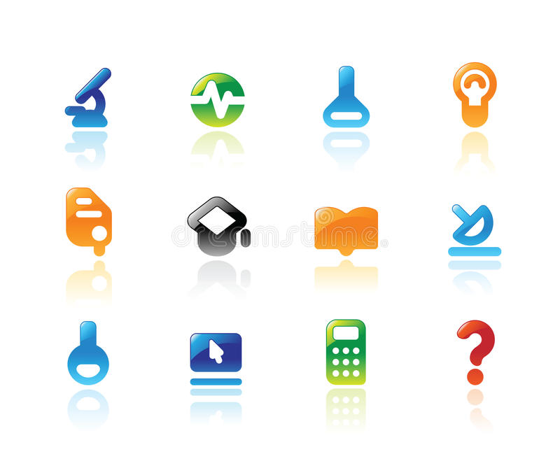 Vollkommene Ikonen für Wissenschaft lizenzfreie abbildung