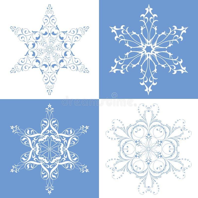 Vollkommene Schneeflocken stock abbildung