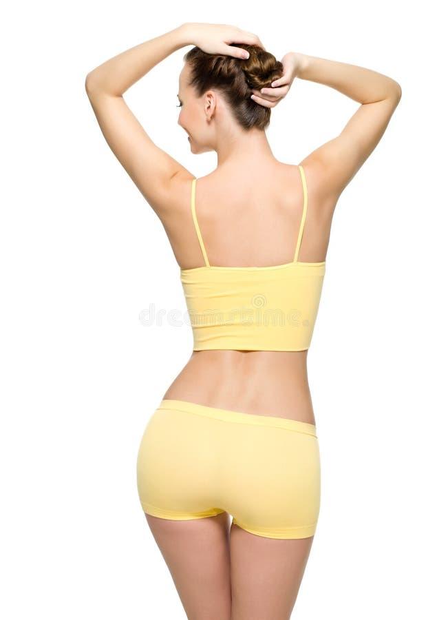 Vollkommene weibliche Karosserie mit der dünnen Taille lizenzfreies stockfoto