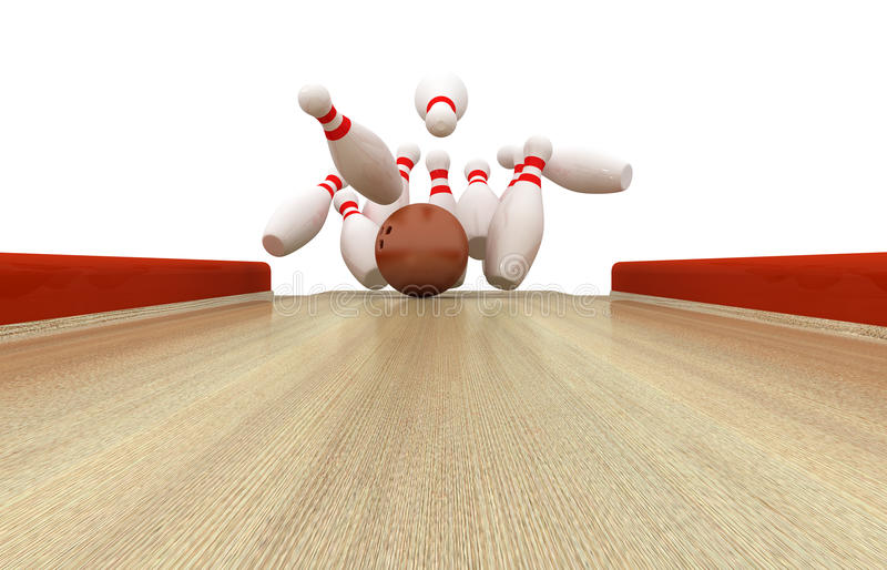 Vollkommener Bowlingspiel-Schlag stock abbildung