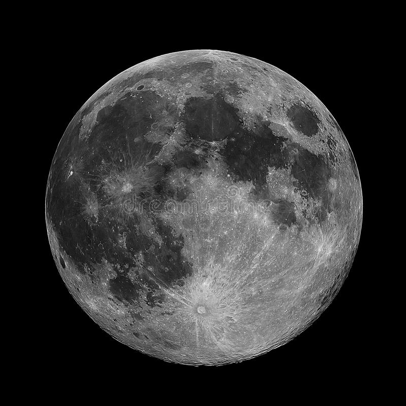 Vollmond genommen unter Verwendung eines Teleskops 190MN stockbild