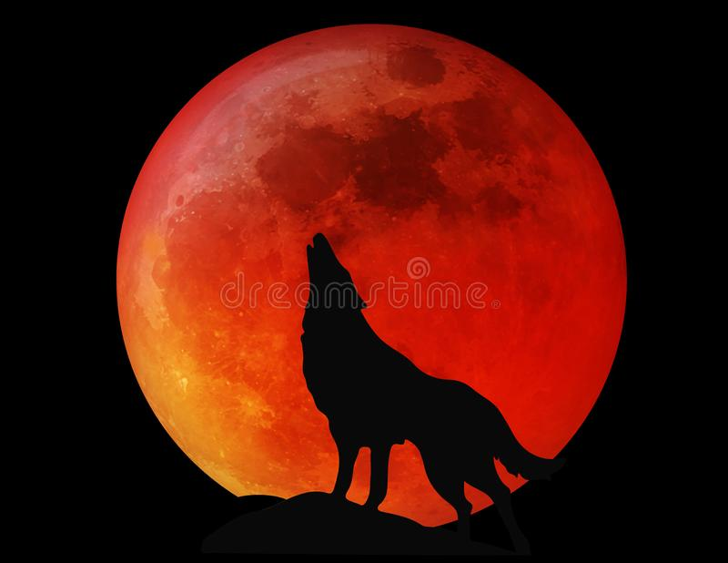Vollmond Wolf Blood Red Halloweens stockbilder