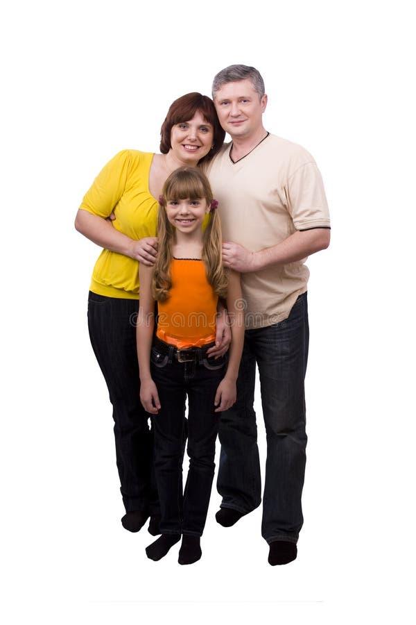 Vollständig-Länge Portrait der glücklichen Familie. stockfotografie