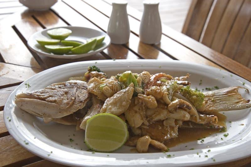 Vollständiges Fisch-Abendessen stockfoto
