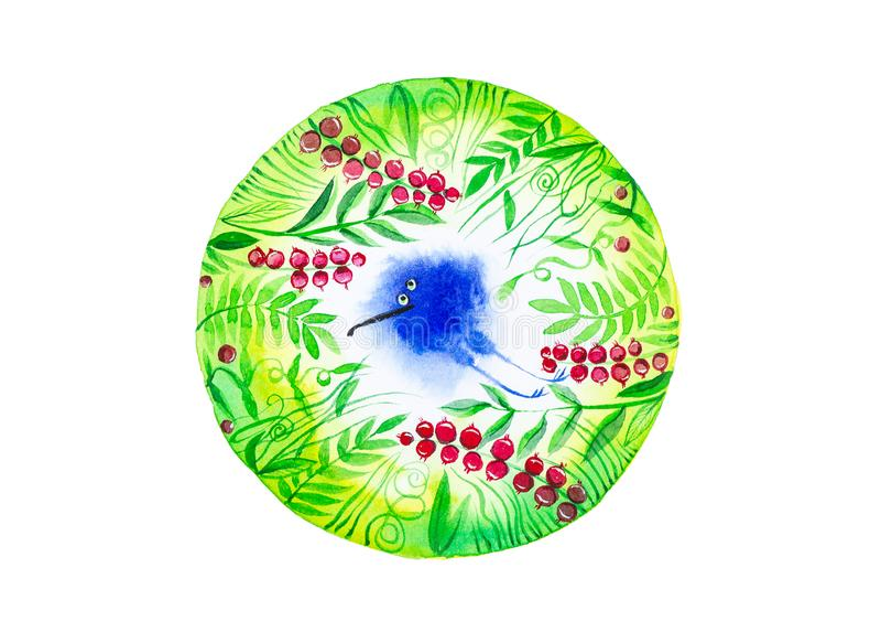 Volo blu astratto dell'uccello sui precedenti delle foglie verdi e dei mirtilli rossi Aria pulita Illustrazione dell'acquerello i illustrazione di stock
