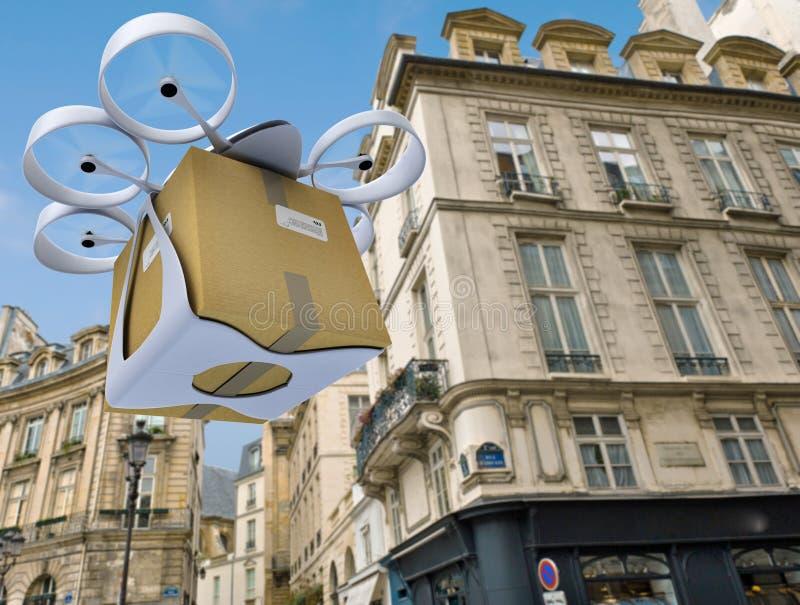 Volo commerciale del fuco intorno a Parigi royalty illustrazione gratis