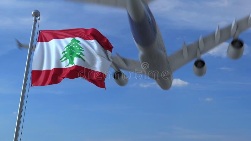 Volo commerciale dell'aeroplano sopra la bandiera d'ondeggiamento del Libano rappresentazione 3d illustrazione vettoriale