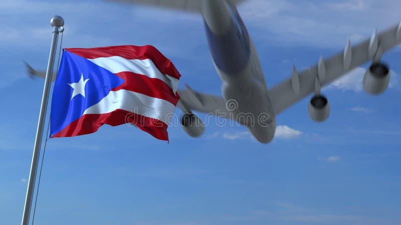 Volo commerciale dell'aeroplano sopra la bandiera d'ondeggiamento del Porto Rico rappresentazione 3d illustrazione di stock