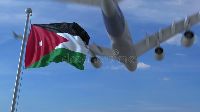 Volo commerciale dell'aeroplano sopra la bandiera d'ondeggiamento della Giordania rappresentazione 3d illustrazione di stock