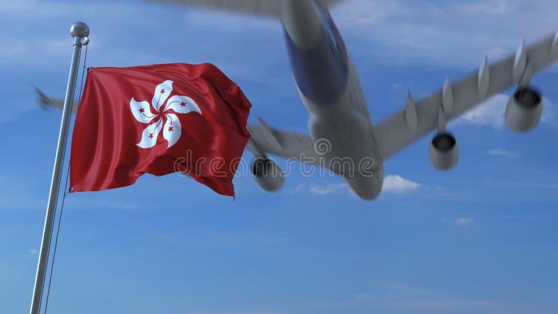 Volo commerciale dell'aeroplano sopra la bandiera d'ondeggiamento di Hong Kong rappresentazione 3d royalty illustrazione gratis