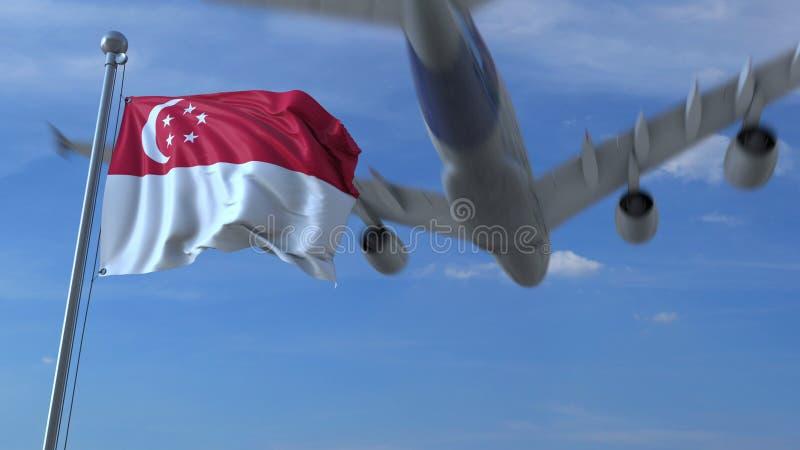 Volo commerciale dell'aeroplano sopra la bandiera d'ondeggiamento di Singapore rappresentazione 3d illustrazione vettoriale
