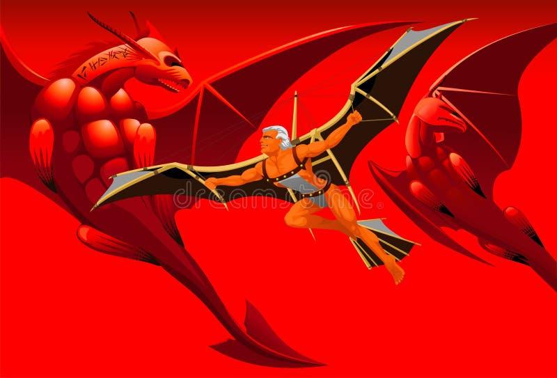 Volo con i draghi illustrazione di stock