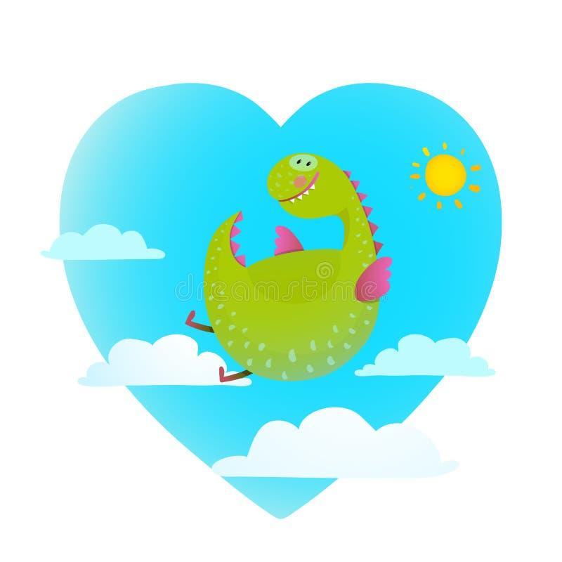 Volo del drago nel fumetto sveglio di divertimento del cielo royalty illustrazione gratis
