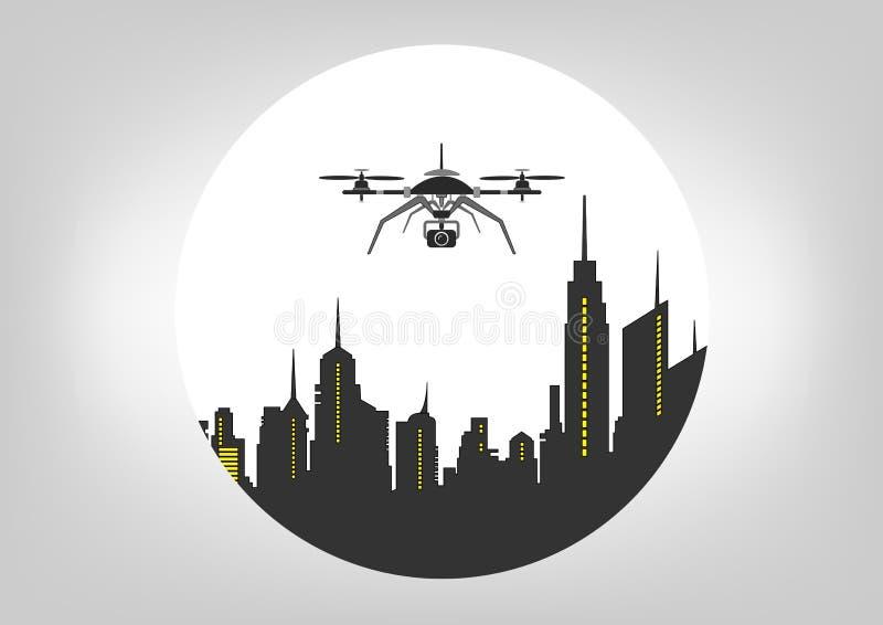 Volo del fuco, icona di servizio di tecnologia, macchina fotografica del briciolo nella città dell'orizzonte Illustrazione royalty illustrazione gratis