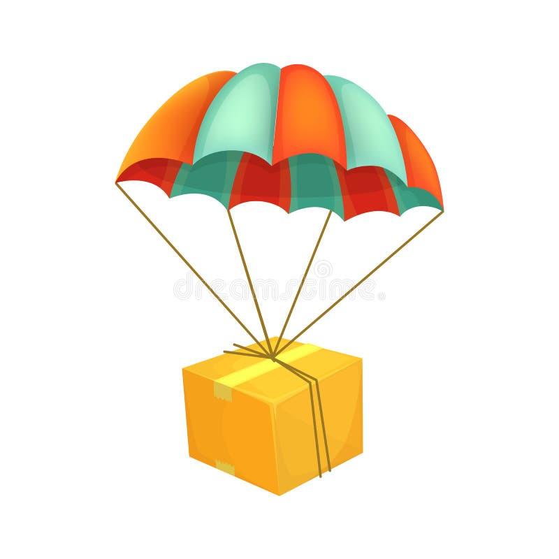Volo del pacchetto sul paracadute Trasporto dell'aria Icona di vettore della scatola Concetto di servizio di distribuzione illustrazione di stock