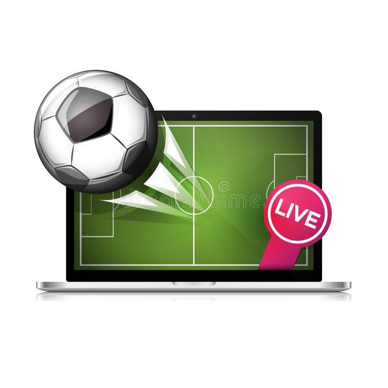 Volo del pallone da calcio di calcio dallo schermo del computer portatile illustrazione vettoriale