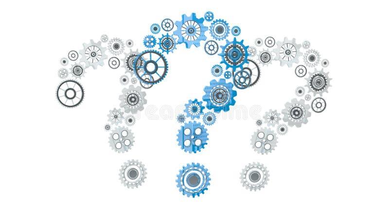 volo del punto interrogativo delle icone dell'ingranaggio della rappresentazione 3D illustrazione di stock