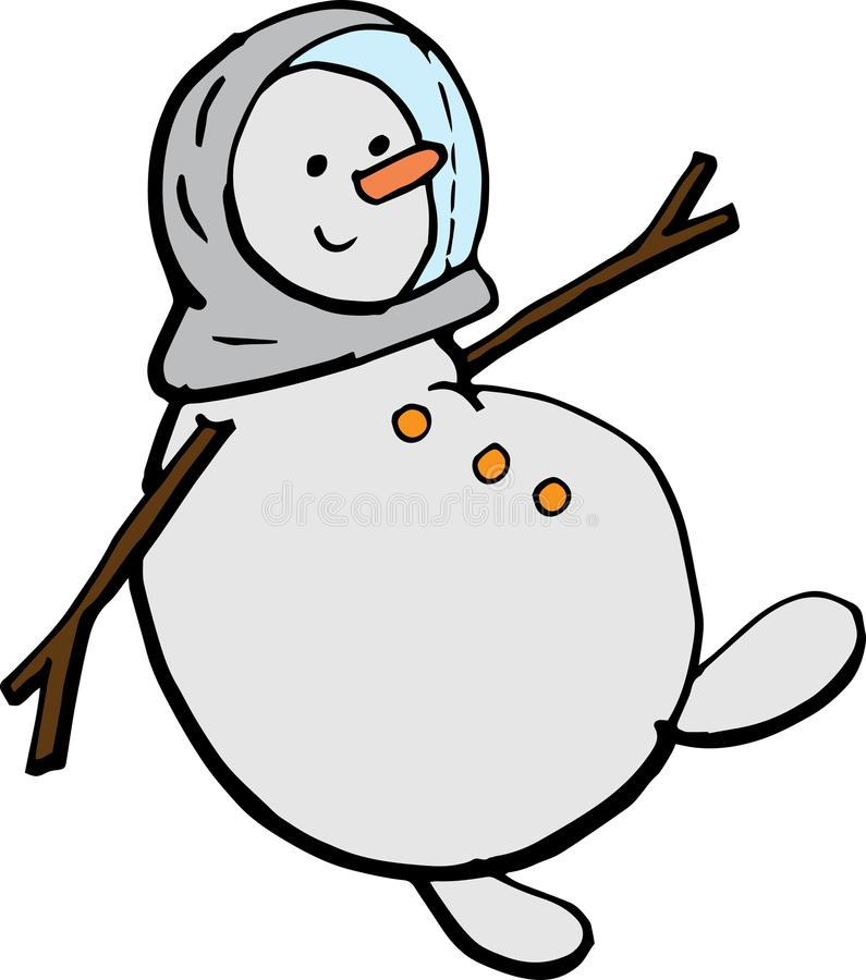 Volo del pupazzo di neve del fumetto in una tuta spaziale illustrazione di vettore per i manifesti, le stampe e le carte da parat royalty illustrazione gratis