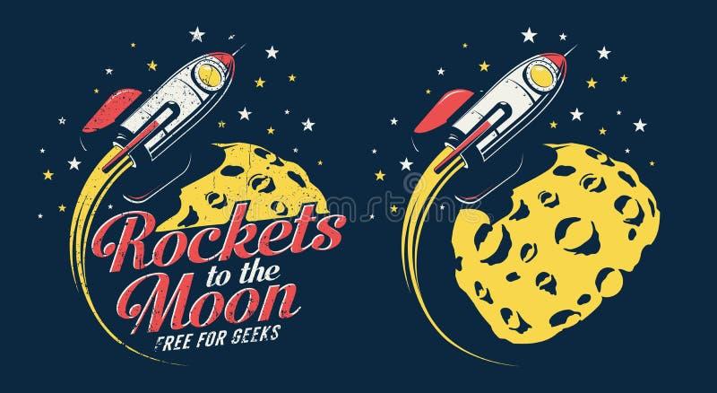 Volo del razzo di spazio intorno al pianeta con i crateri - retro manifesto dell'emblema royalty illustrazione gratis