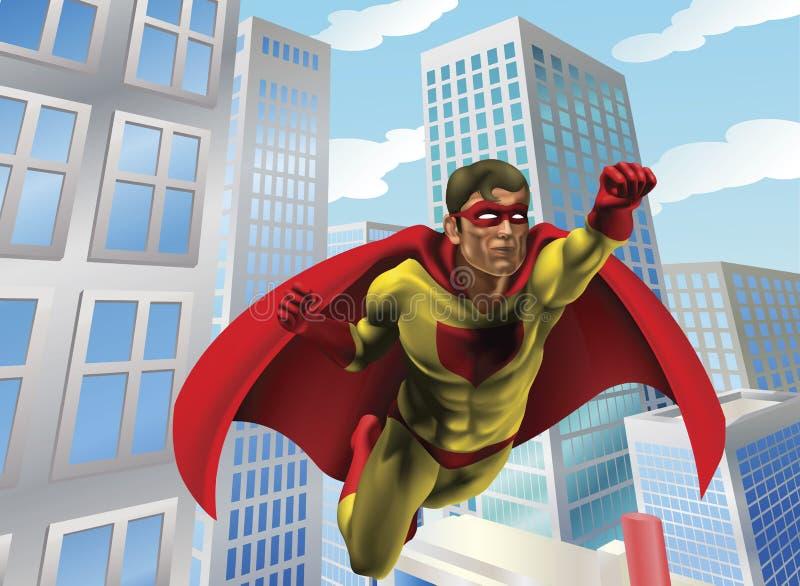 Volo del supereroe attraverso la città royalty illustrazione gratis
