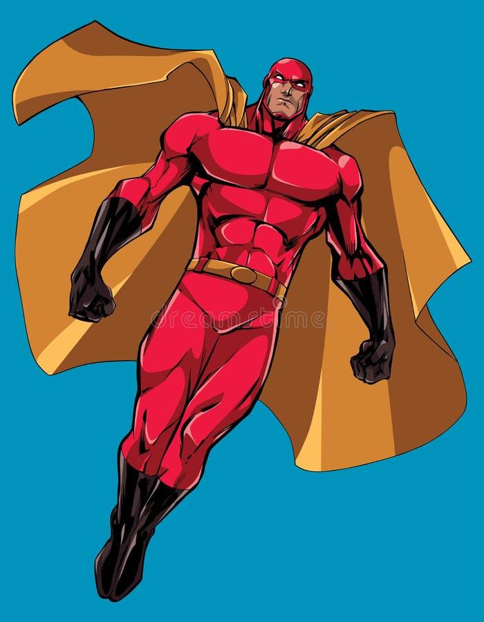 Volo del supereroe isolato illustrazione di stock