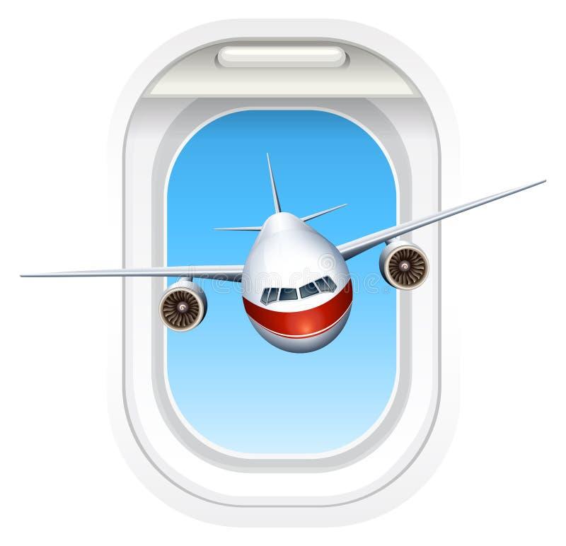 Volo dell'aeroplano attraverso la finestra illustrazione vettoriale