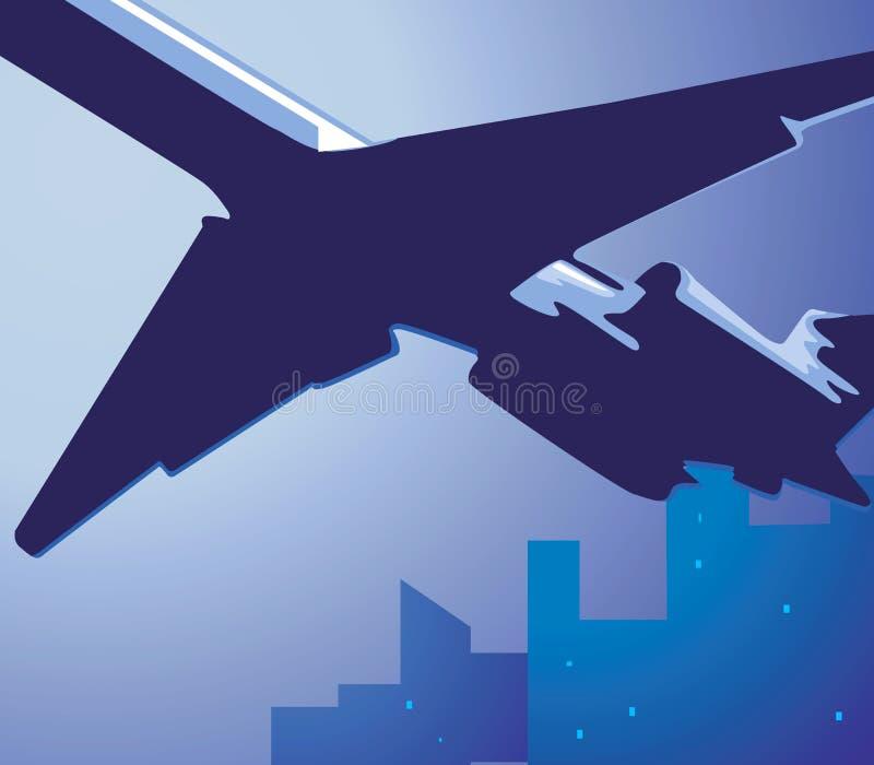 Volo dell'aeroplano in cielo qui sopra royalty illustrazione gratis
