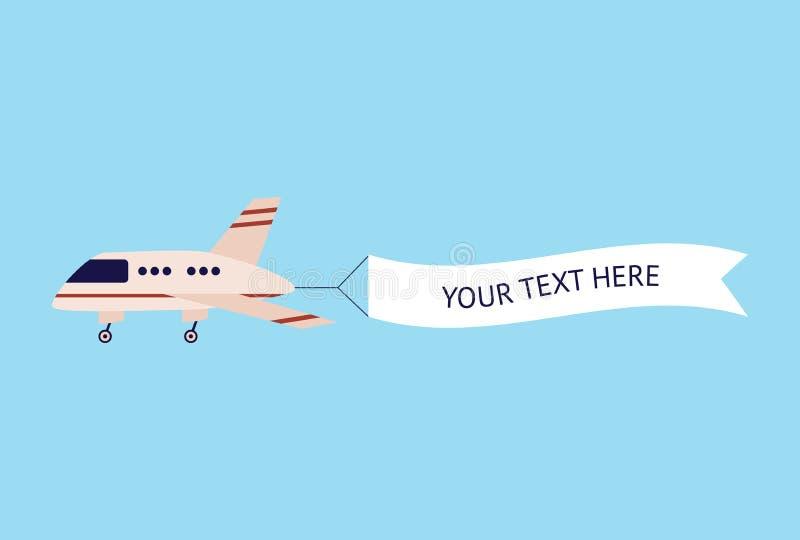 Volo dell'aeroplano con l'insegna del modello del testo illustrazione di stock