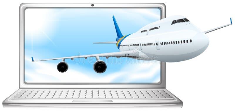 Volo dell'aeroplano dallo schermo di computer illustrazione vettoriale
