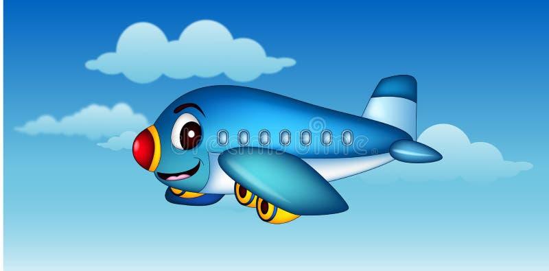 Volo dell'aeroplano del fumetto illustrazione vettoriale