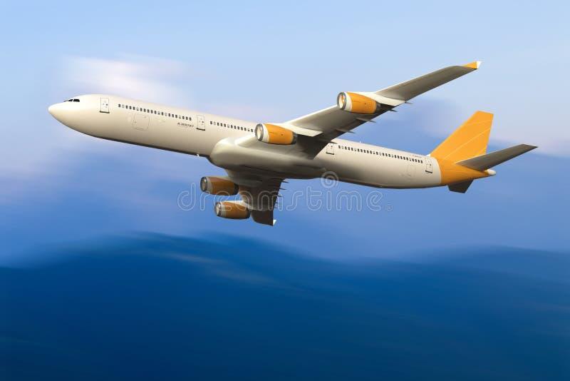 Volo dell'aeroplano del getto nel cielo fotografia stock