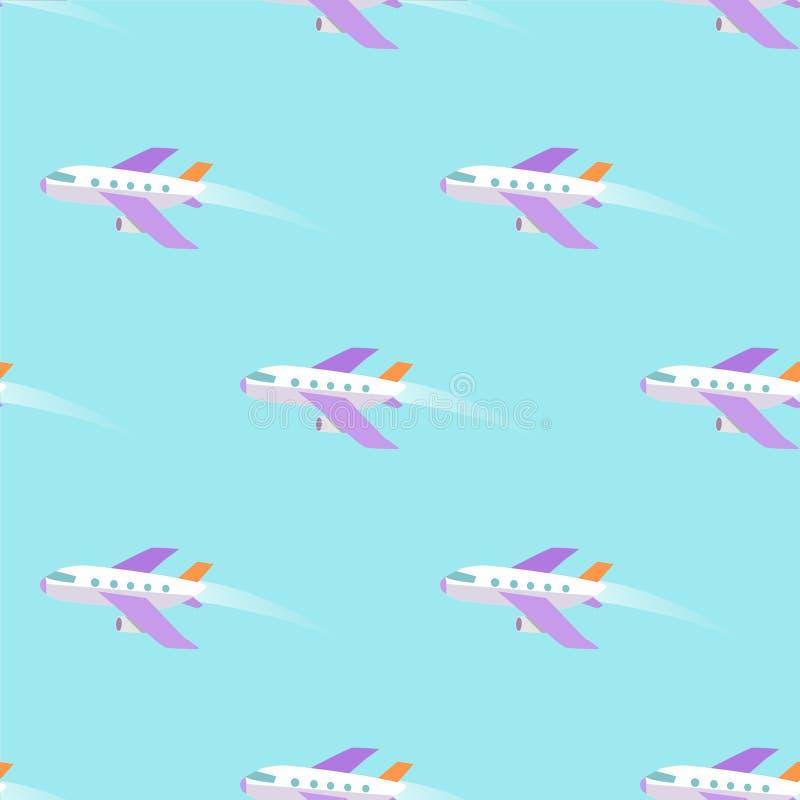 Volo dell'aeroplano nel modello senza cuciture del cielo sul blu illustrazione vettoriale