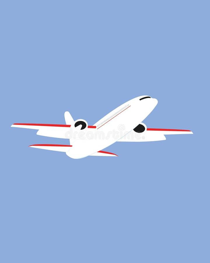 Volo dell'aeroplano nell'illustrazione di vettore del cielo royalty illustrazione gratis