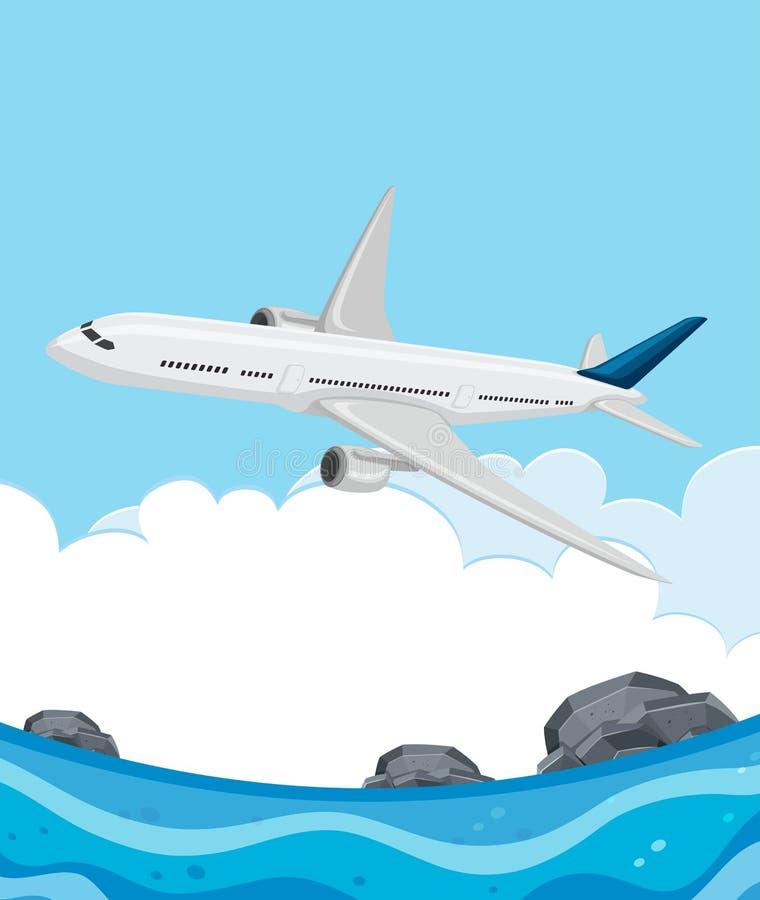 Volo dell'aeroplano sopra il mare illustrazione di stock