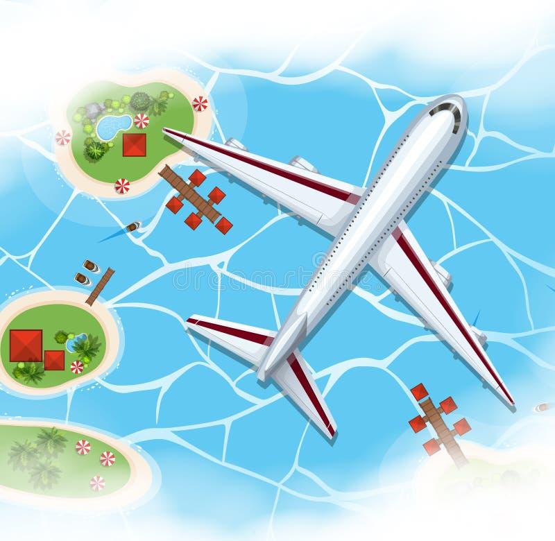 Volo dell'aeroplano sopra il mare royalty illustrazione gratis