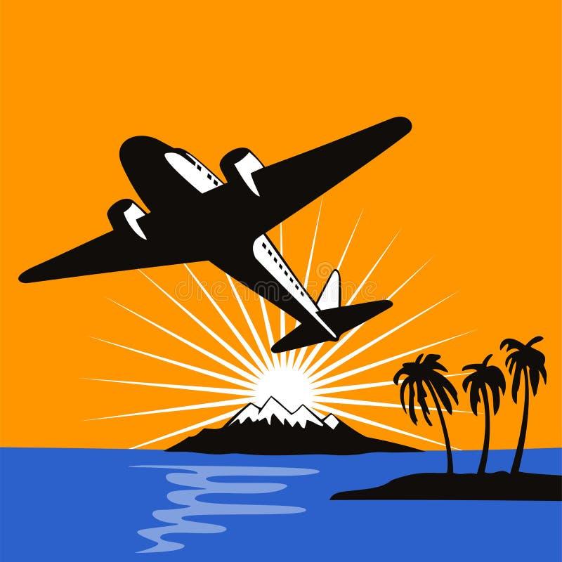 Volo dell'aeroplano in su nei soli illustrazione vettoriale