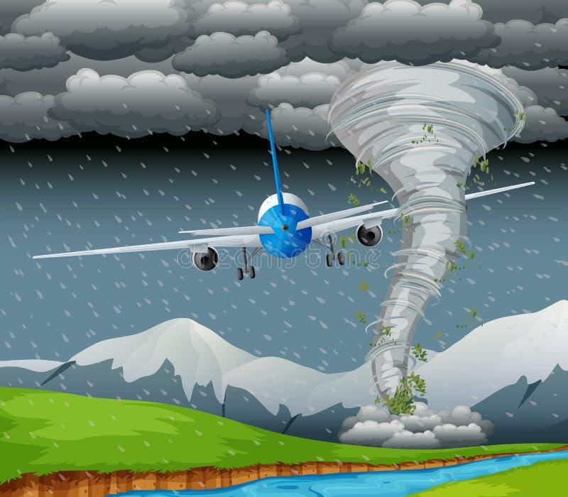 Volo dell'aeroplano sul maltempo illustrazione di stock