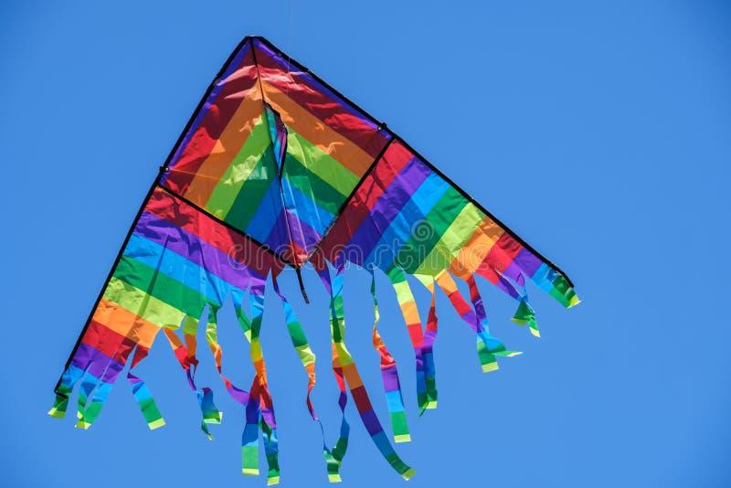 Volo dell'aquilone nel fondo di estate del cielo blu, natura immagini stock