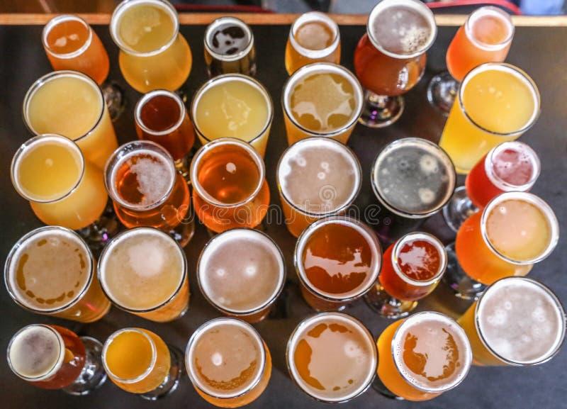 Volo dell'assaggio della birra del mestiere fotografia stock libera da diritti