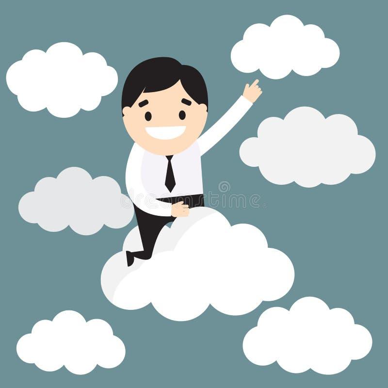 Volo dell'uomo d'affari sulla nuvola Sfera differente 3d Vettore Illustratio illustrazione vettoriale