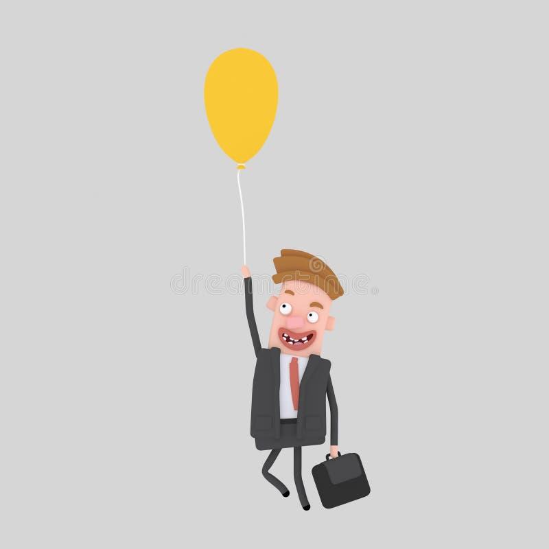 Volo dell'uomo di affari con un pallone 3d illustrazione vettoriale