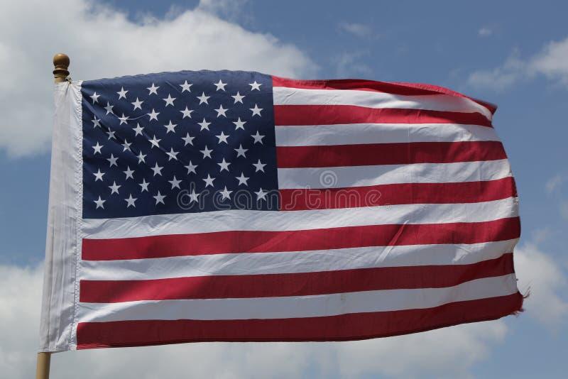 Volo della bandiera americana fotografia stock