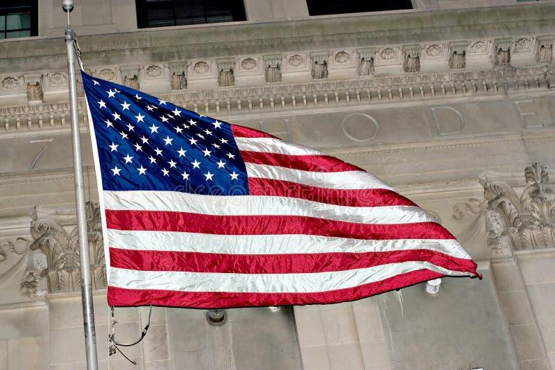 Volo della bandiera americana fotografia stock libera da diritti
