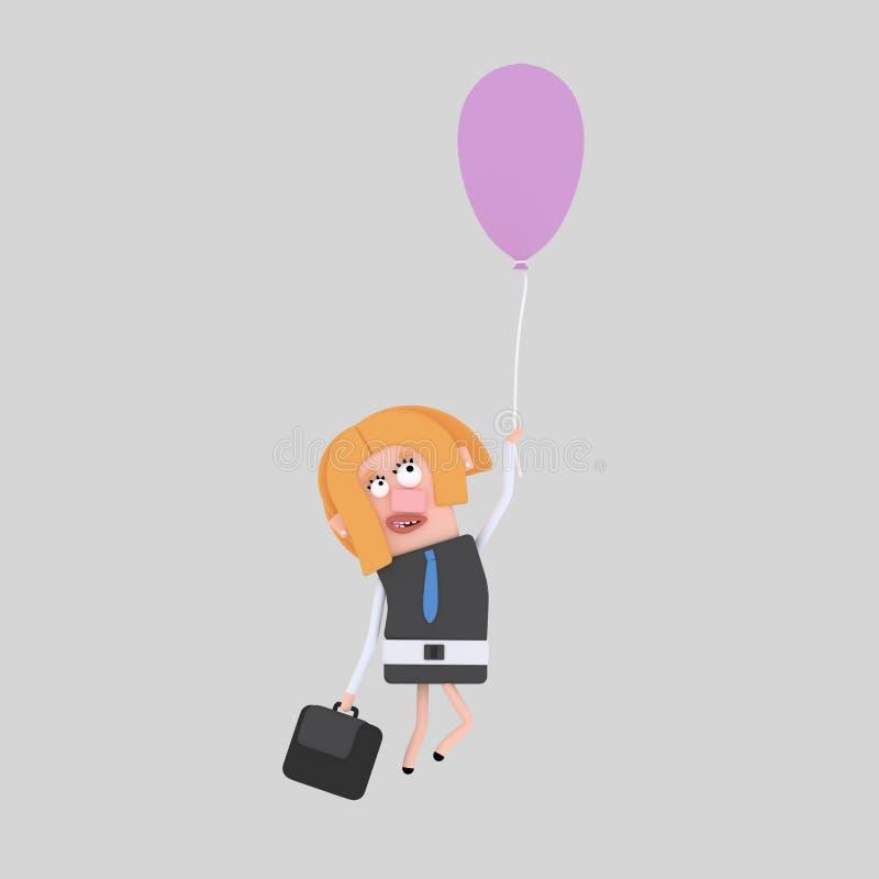 Volo della donna di affari con un pallone 3d illustrazione di stock