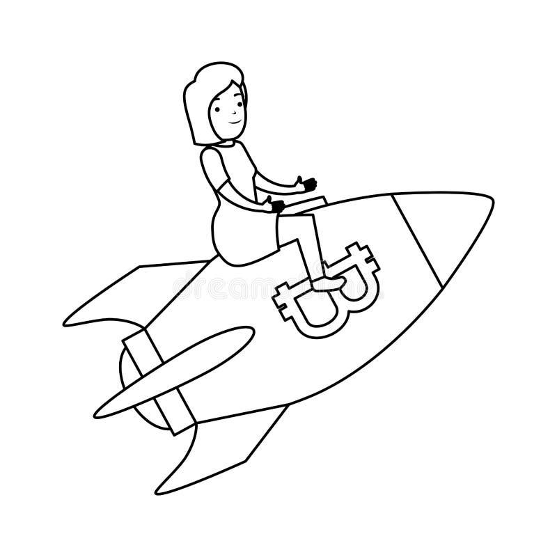 Volo della donna di affari in razzo con il simbolo del bitcoin illustrazione di stock