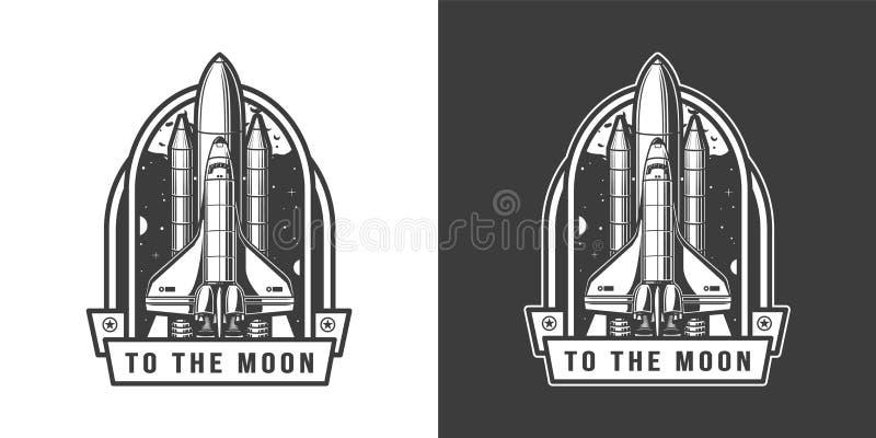 Volo della navetta spaziale all'emblema della luna illustrazione vettoriale