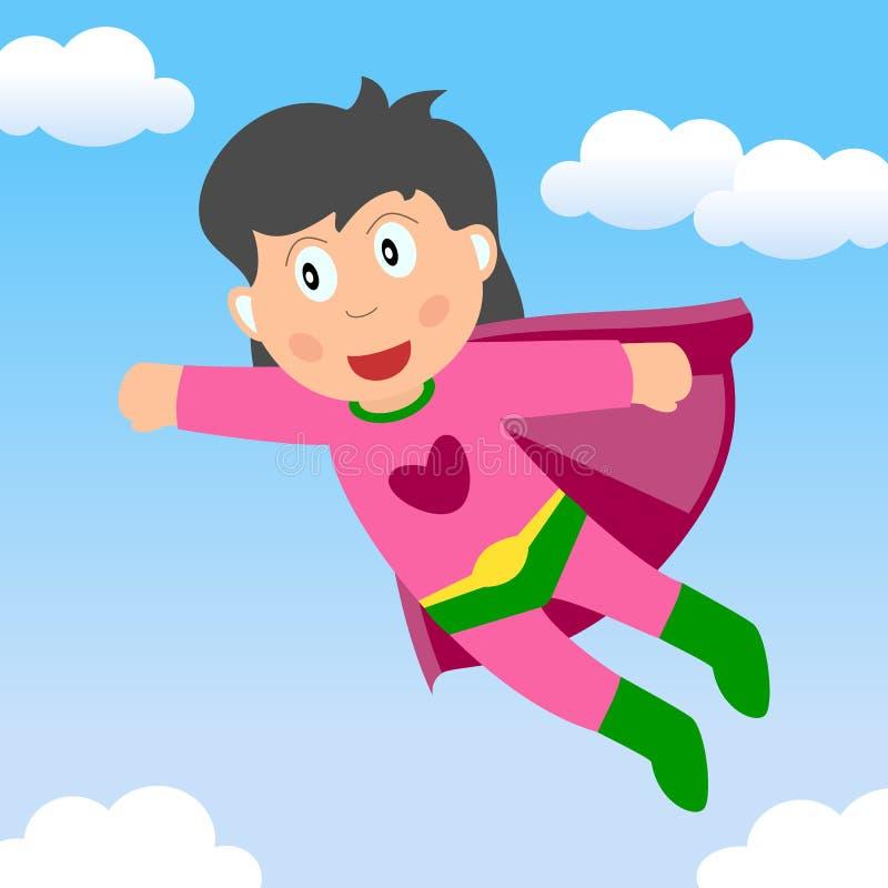 Volo della ragazza del supereroe nel cielo illustrazione vettoriale